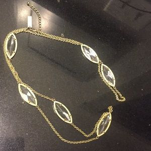 Kendra Scott Long clear and gold necklace!